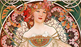 """穆夏创作的""""仙女般""""的美女海报绘画"""