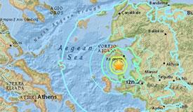 希腊东部海域地震造成1死11伤