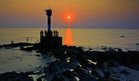 广西北海冠头岭观海上落日