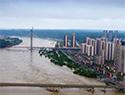航拍洪峰过境重庆