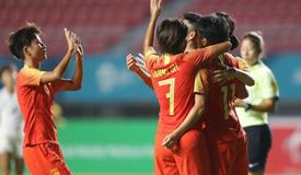 高清:中国女足7-0中国香港取得亚运开门红