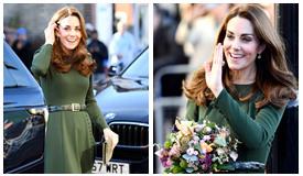 凯特王妃墨绿长裙现身社区 笑容超有感染力