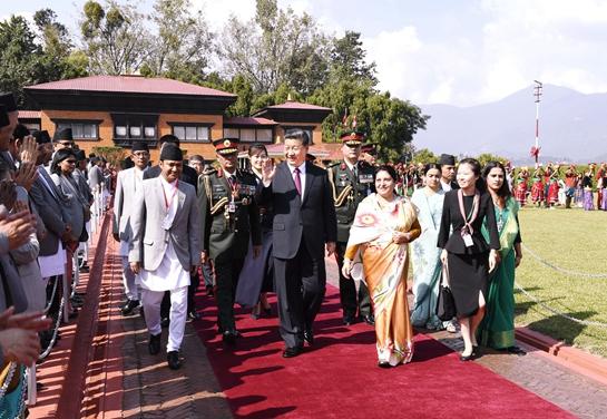 习近平出席尼泊尔总统班达里举行的隆重欢送仪式