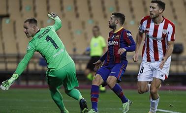 梅西染红 西超杯巴萨2-3遭逆转失冠