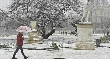 法国巴黎迎降雪 纯白世界美如画卷