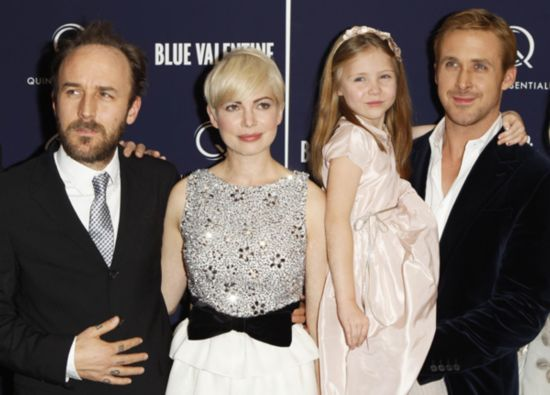 cast members michelle williams 2nd l faith wladyka 2nd r and ryan gosling as they arrive for the premiere of blue valentine in new york december