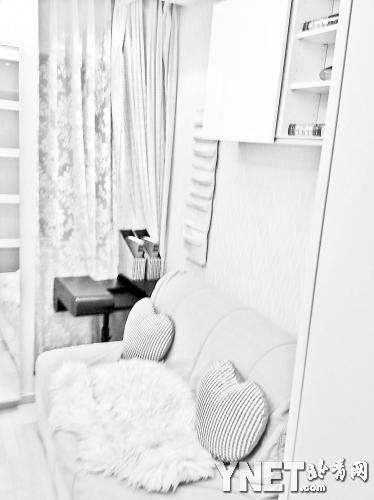 -折叠的沙发床是房间最大的家具
