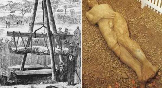 卡蒂夫巨人在1896年的美国出土,这是个十英尺(约3米)高的化石巨人,人们赶到当地农场去看这个奇迹,即便农场开始收费也不例外。然而真相并非如此,这只是纽约一烟草商制作的石头人,为了向人证明圣经里的巨人是真实存在的,就想了这个法子,从中捞了一笔门票钱。