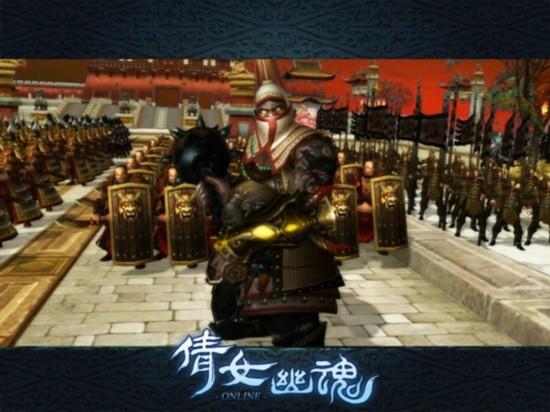 """《倩女幽魂》史诗级副本""""京师保卫战""""中,多铎已经带领后金兵等待玩家挑战"""