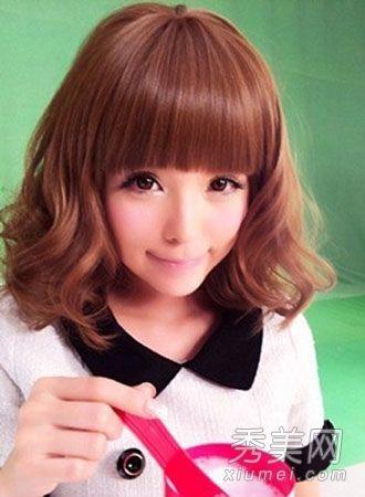 韩版短发蛋卷头发型 韩式小蛋卷头中短发 短发蛋卷头发型图片
