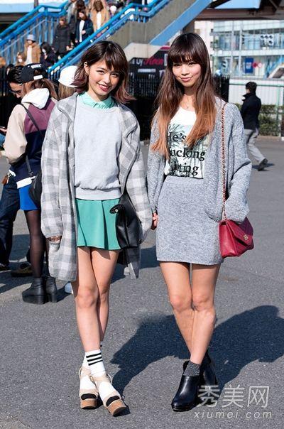 日本东京街拍 光腿美女混搭范儿