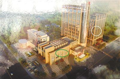 皇冠综合楼规划效果图。其中,绿色圆圈处为原环保大楼所在地;白色圆圈处为环保局新办公地。