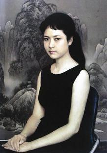 油画《青年女歌手》