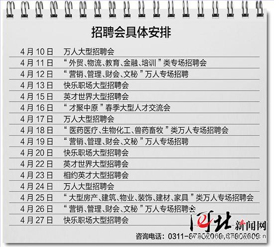 河北人才市场4月有16场大型招聘会