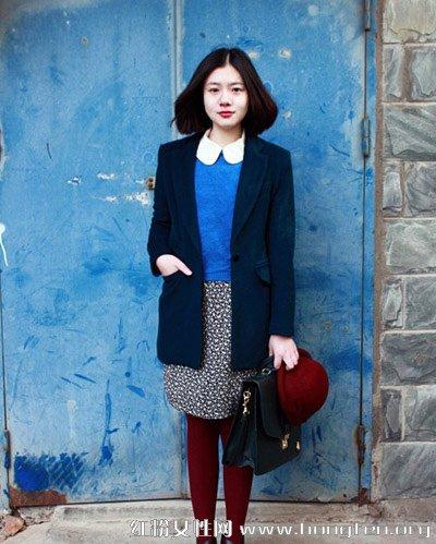 藏蓝色西装外套,修身版型