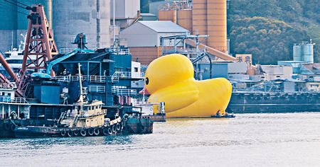 giant inflatable duck arrived leather lingerie  in victoria harbour, hong kong has attracted an attendance of 38,000 (map)