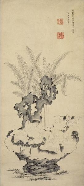 方维仪《蕉石罗汉图》轴 故宫博物院藏