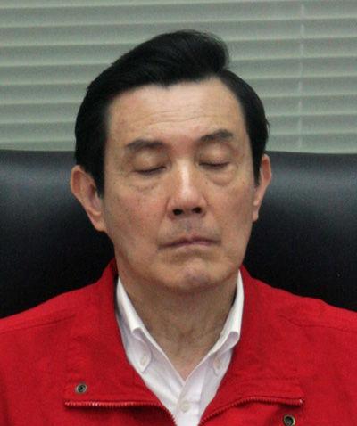 马英九/马英九工作间隙打瞌睡遭抓拍。(图片来源:台湾《中国时报》)