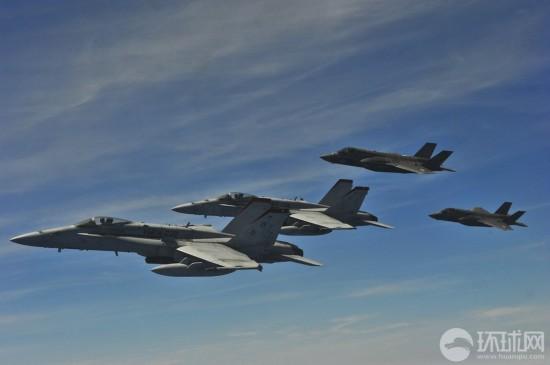 (高清)美国空军精锐f-35多机编队秀作战队形【2】