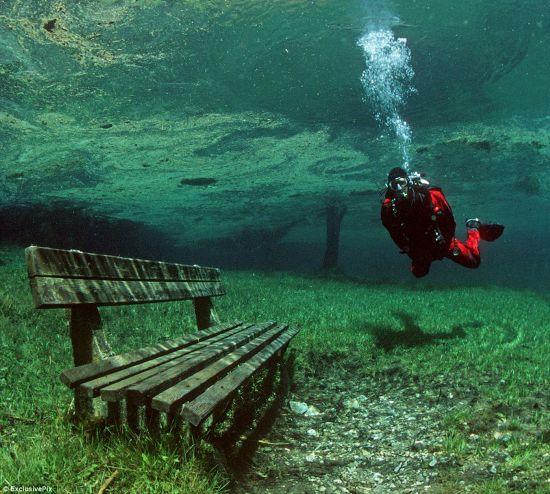 """奥地利""""水珍珠"""":绿湖水下公园"""