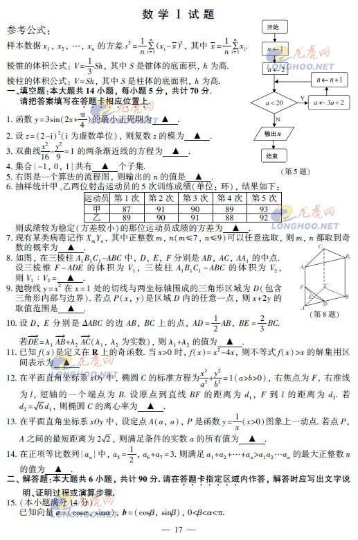 2013年江苏省高考数学试卷及答案公布