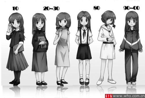 网友手绘不同年代女生校服