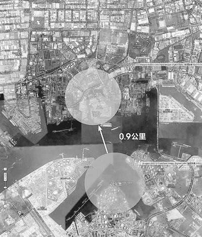 卫星地图显示的新加坡裕廊岛埃克森美孚炼厂PX装置,距居民区只有900米。