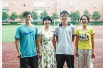 长郡中学,易楷宁(左一)、唐嘉(左二)、曾宇(左三)、朱佳怡(右一)