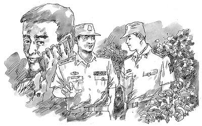 军人敬礼侧面手绘