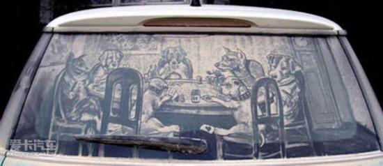 令你赞叹的灰尘艺术――车窗上的灰尘画