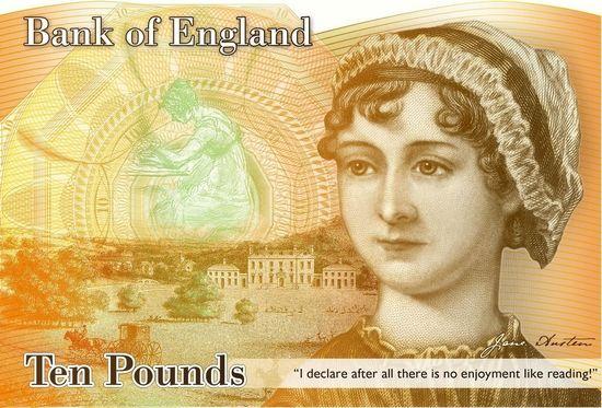 新版10英镑纸币将印有英国作家简・奥斯汀的头像。