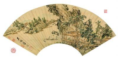 唐寅 江亭谈古图 扇面 设色金笺 19.7×56.5厘米 (北京保利供图)