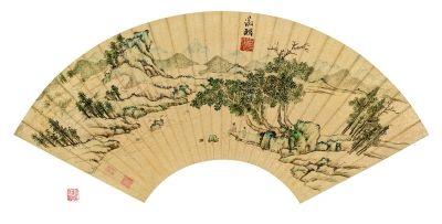 文徵明 凭江追远 设色金笺 18.5×52.5厘米 (北京保利供图)