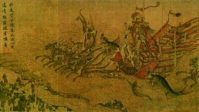 洛神赋图 (绢本设色) 宋摹本局部  572.8×27.1厘米