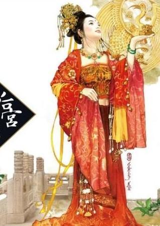 丹青手绘古代妃子,手绘古代妃子头饰 图,古代妃子手绘,手绘高清图片