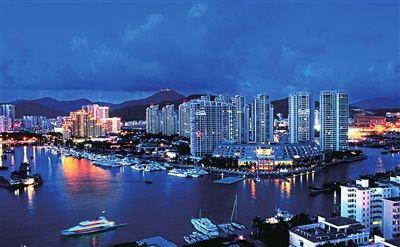 朝天门港口夜景图-展迅速 三亚港夜色如诗如画图片