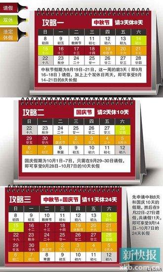 """中秋国庆连休24天 请假11天休24天 """"请假攻略""""为何年年走红?"""