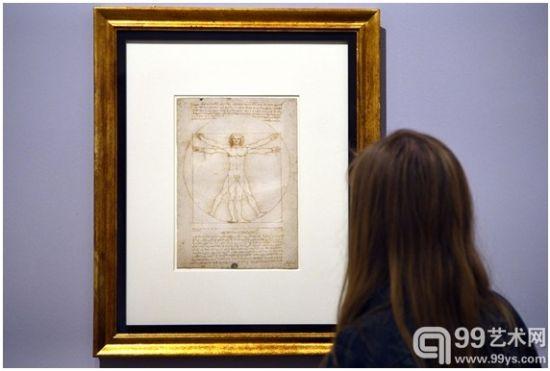 图中展出作品为著名的《维特鲁威人》
