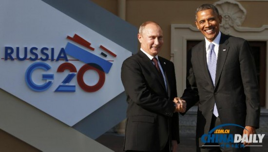 G20峰会奥巴马与普京握手后转身离开(高清组