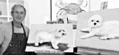 小布什画了数十幅以狗为主题的作品