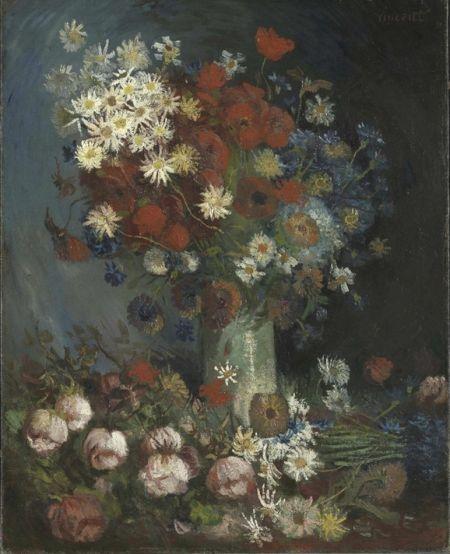 荷兰海牙Kroeller Mueller博物馆馆藏的梵高作品《野花与玫瑰》
