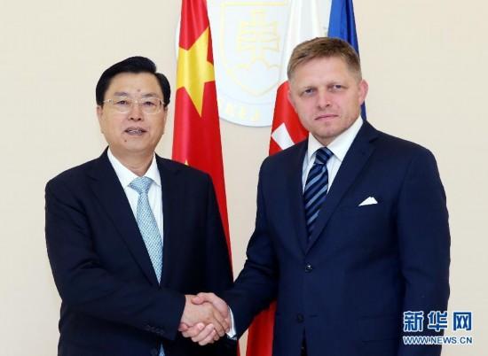 (时政)张德江会见斯洛伐克总理菲乔