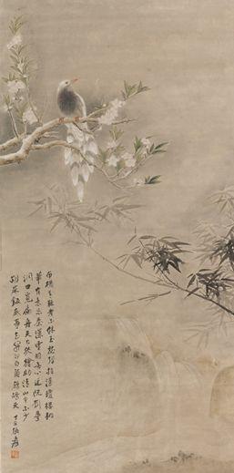 张大千《桃花翠鸟》