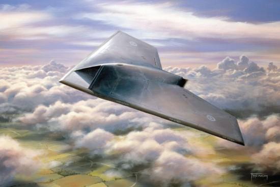 """""""雷神""""(taranis)无人作战飞机飞行模拟图"""