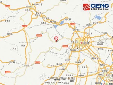 北京市门头沟区房山区交界发生2.2级地震