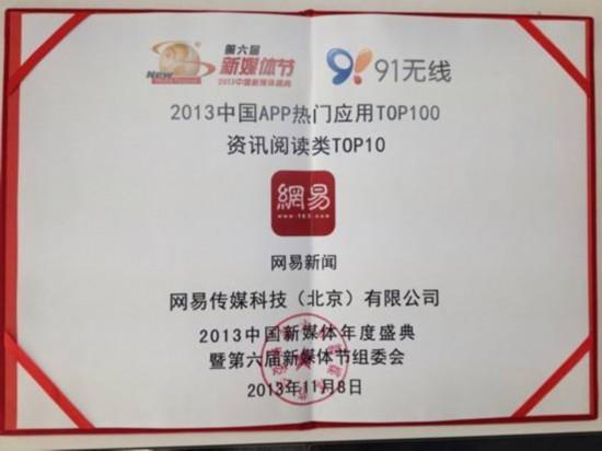 網易新聞客戶端獲評2013中國熱門APP應用獎項