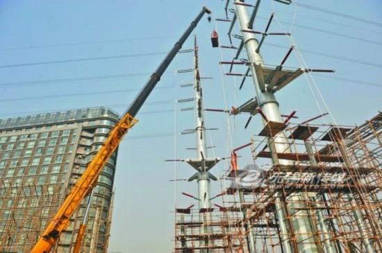 蠡湖变进线新立2基 新城实现220千伏双电源格局