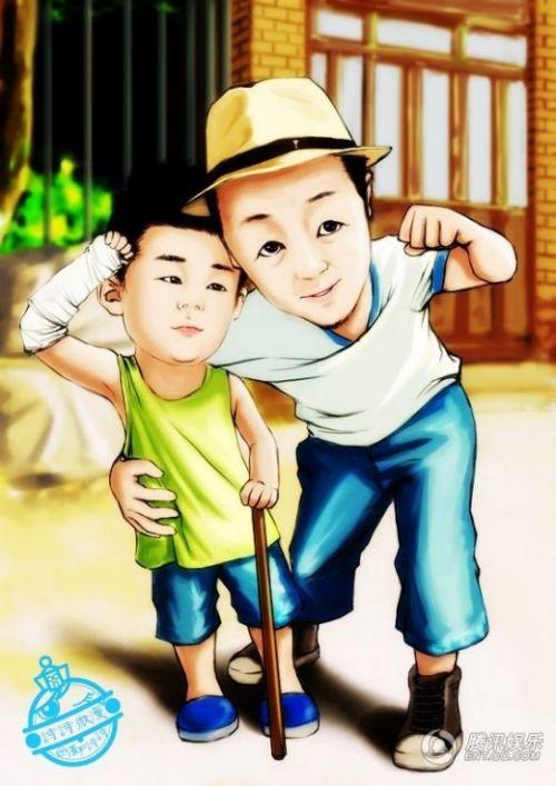 爸爸去哪儿 萌宝 大红 囧爸 萌宝 q版漫画曝