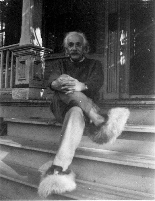 穿着毛拖鞋的爱因斯坦