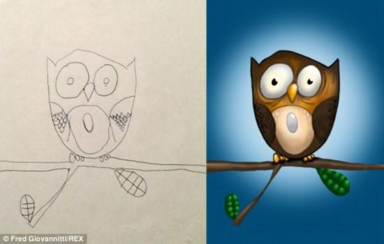美父亲出差路上将孩子简笔画加工成精美插图